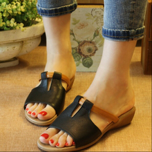2015 genuine leather low-heeled comfortable slippers casual slippers vintage handmade fashion wedges slippers women's sandals