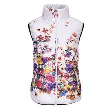 Новый 2016 Мода Зима Жилет Женщин Хлопка Вниз О-Образным Вырезом Печатных цветы Женщины Куртка Жилет Пальто Плюс размер 5XL Женские Случайные пиджаки(China (Mainland))