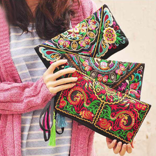 Discount 2015 New Women Wallet Embroider Purse Clutch Mobile Phone Bag Coin Bag(China (Mainland))