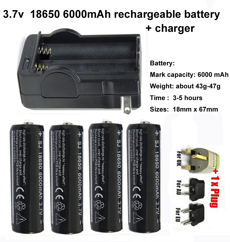 4pcs 3.7v 18650 6000mAh rechargeable battery with charger for flashlight or laser(China (Mainland))