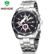 Moda WEIDE moda reloj de acero llena hombres de japón deportes de cuarzo relojes de estilo de negocios vestido reloj Casual 30 M impermeable