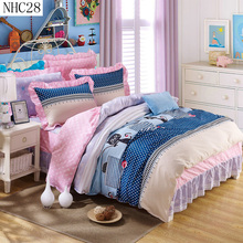 Free shipping 100% cotton bedding set wholesale supply twin full queen king Girls like pillowcase duvet cover bed skirt(China (Mainland))