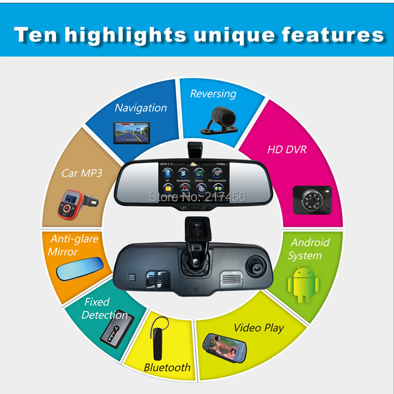 Android Dvr mirror Car Alarm Backup Mirror Rear Camera HD DVR Front/back Navi GPS Bluetooth Wifi FM Radio MP5 for Each car(China (Mainland))