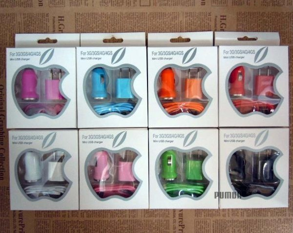 10pcs/lot accessories for iPhone car charger and travel charger three generations 3 piece suit Free shipping!