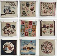 New 50*50cm Cartoon Owl  Jacquard Fabric Diy Handmade Patchwork Fabrics Home Textile Sewing Tilda Woven Telas Tecido