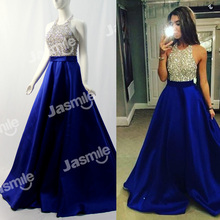New Halter Beaded Long Prom Dresses Backless Party Dress Gold Silver Sequins Black Royal Blue Satin Ball Gown Evening Gowns 2016(China (Mainland))