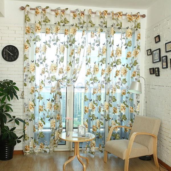 Flor amarela painel cortina janela Voile Sheer Tulle contas cortina Valance frete grátis(China (Mainland))
