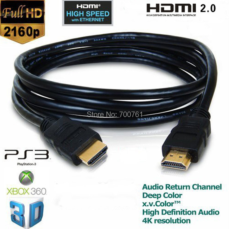1M OD5.5MM 2160P HDMI 2.0 Cable male cable V2.0 3D PS HDTV Ethernet 24K Gold Plated 4K X 2k