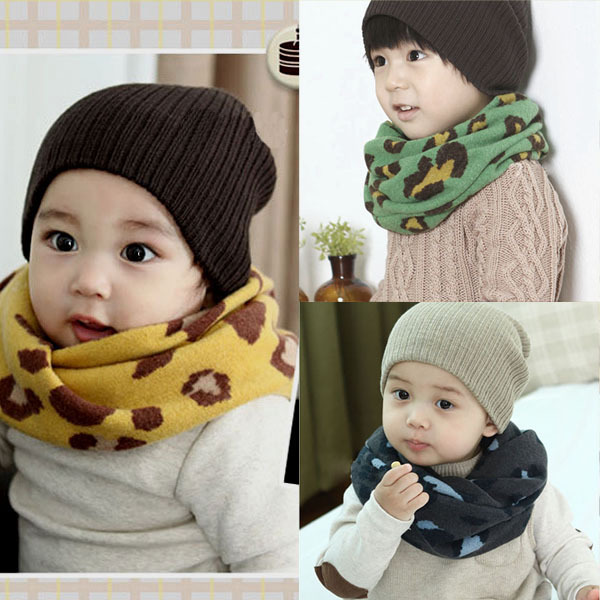 Best Price 1-8Y Winter Warm Girl Boy Baby Kids Scarf Neckerchief Leopard Printed Scarves(China (Mainland))