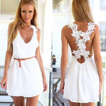 womens summer dresses 2015 plus size white bandage lace chiffon dress Sleeveless fashion Casual maxi Mini sexy women's dresses