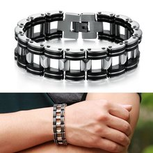 Hot Men Silver Stainless Steel Bracelets Black Rubber Motorcycle Biker Chain Link Bracelet(China (Mainland))