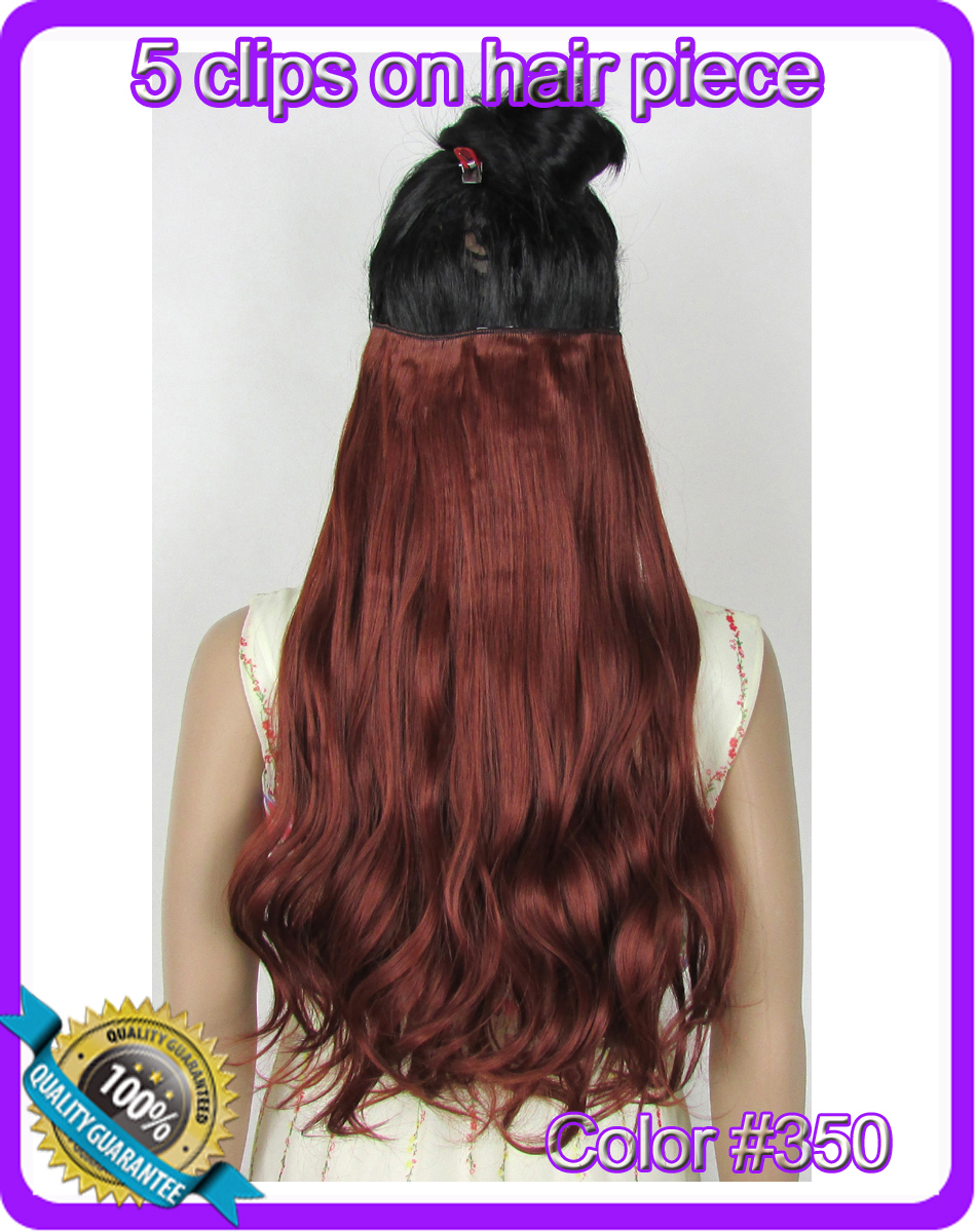 24(60cm) 120g body wave clip in hair extensions hairpiece hair pieces accessories color #350 Copper Red<br><br>Aliexpress