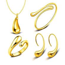 אופנה חתונה כלה תכשיטי סט כסף טיפת מים צמיד שרשרת Earhook טבעת סטים לנשים פשוט Creative עדין מתנה(China)