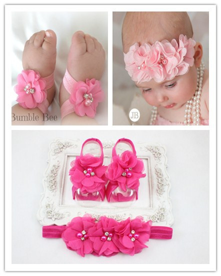 2015 New Baby Girl Flower Shoes Headband First Walkers Newborn Toddler Barefoot 1 Sets/ lot - make progress every day store