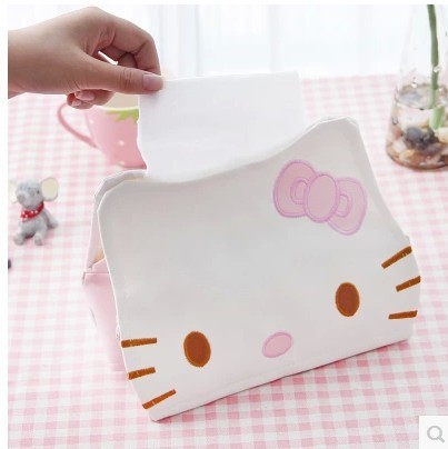 European Simple Leather Box The Lovely Hello Kitty Tissue