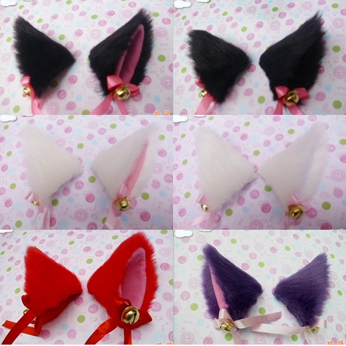 Cosplay Party Anime Costume Cat Fox Ears Long Fur Hair Clip Pair # 48328 - ByDressing Store store