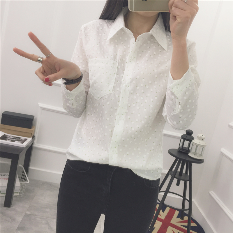 2016 New Spring Summer Casual Full Sleeve Print School Small Black Blouse Shirt White 9022(China (Mainland))