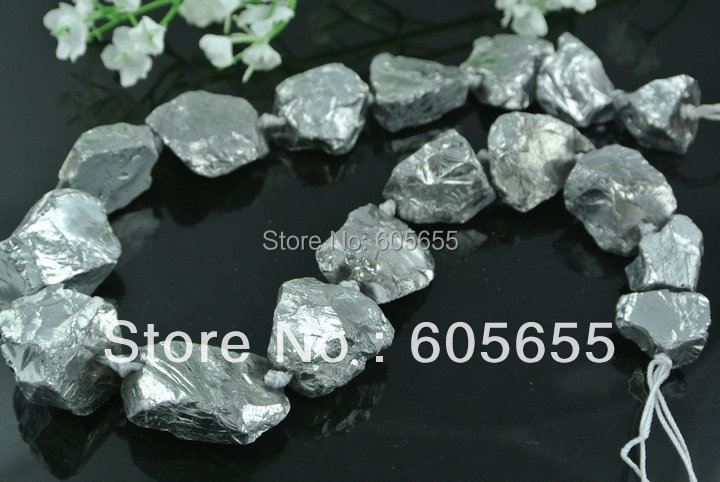 Electroplate Natural Rock Crystal Quartz  Silver Plated Rough Chunk Stone Graduated Beads Jewelry 5 strands /lot  Free ship<br><br>Aliexpress