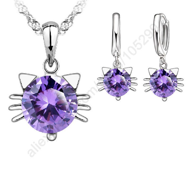 Гаджет  Purple Stone Good Kitty Jewellery Sets 925 Sterling Silver Swiss Cubic Zircon CZ Cat Pendant Necklace Earring Sets Stock Ship None Ювелирные изделия и часы