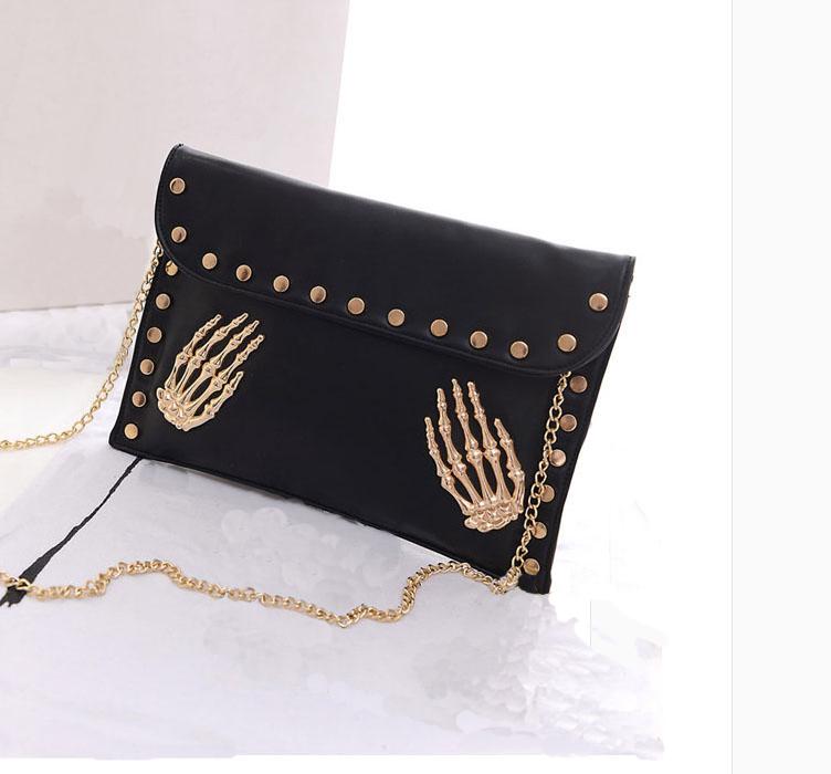Punk Bag Fashion 2015 Brand Women Messenger Bag Black Color Rivet Bags Pu Leather Women Bags High Quality(China (Mainland))
