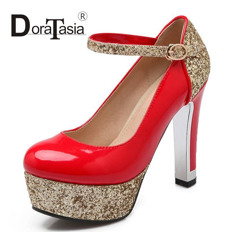 2016 Newest Wedding Pumps Glitter Round Toe Platform Shoes Women Thick High Heels Women Party Dress Night Club Pumps(China (Mainland))