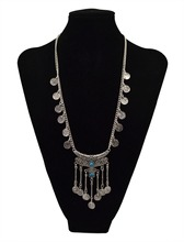 Bohemian vintage silver black stone moon pendant necklace long coin fringe chain necklace turkish female jewelry