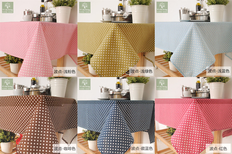 Cotton Linen Thin Series New 2015 Summr Fresh Dot Tablecloth 100% Cotton 6 Colors 65*65cm 90*90cm 110*110cm Can be customized(China (Mainland))