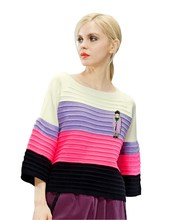 ELF SACK fashion brand new arrival 2015 spring women multicolour stripe flare sleeve loose pullover sweater o-neck free shipping(China (Mainland))