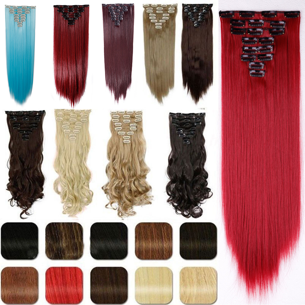 """26"""" 8pcs Full Head Hair Extensions 18clips in Synthetic Hairpiece Clip on Women Hair Piece Blue Purple Pink Blonde Brown Gray(China (Mainland))"""