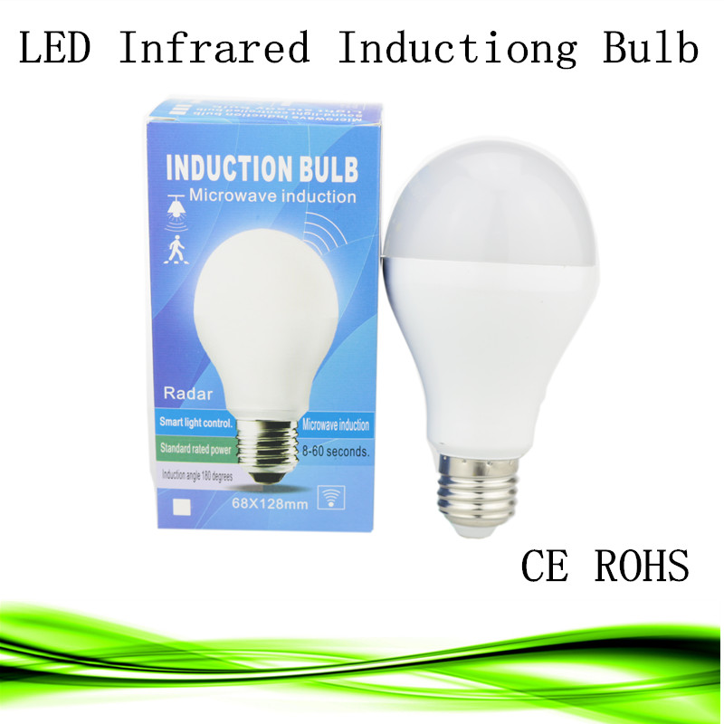 1X LED PIR Infrared infrared body sensor light E27 5W 7W 9W 15W 5730SMD human induction Lamp Bulb 110v 220v Motion Detection(China (Mainland))
