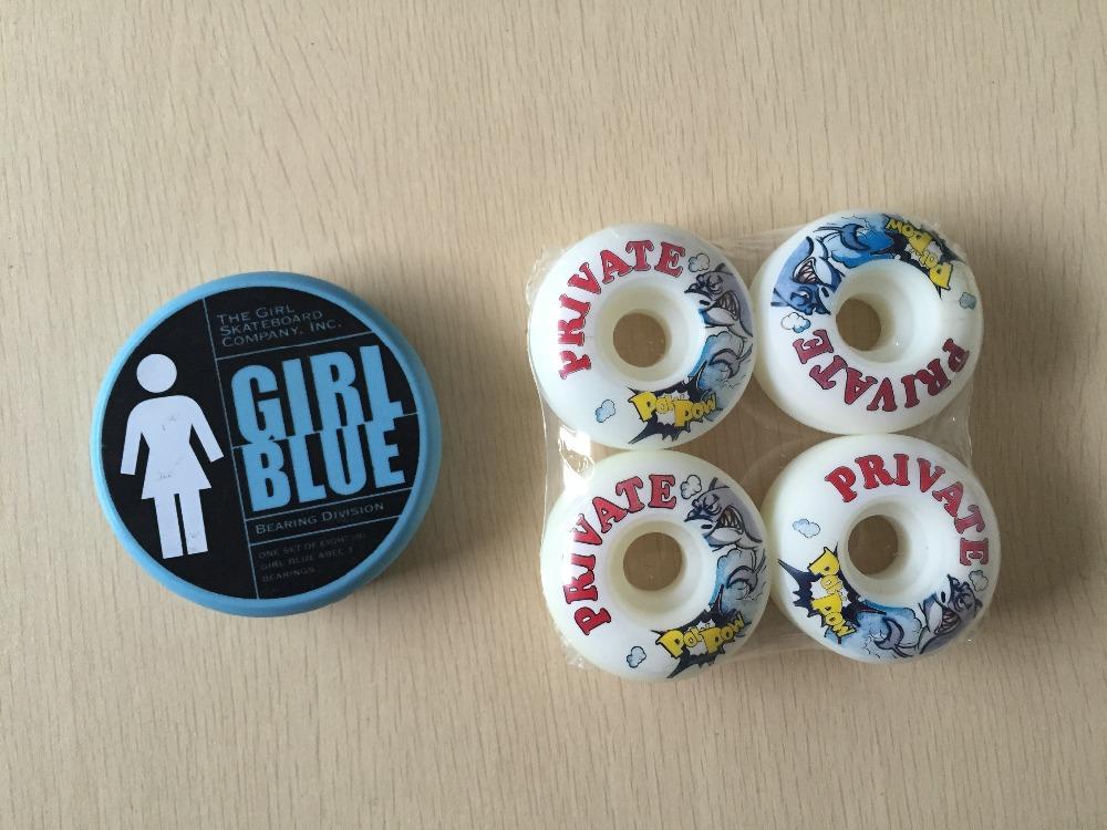 2015 Free Shipping Skateboard Parts GIRL ABEC-3 Skate Bearings And Private PU Skate Wheels