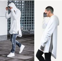 2015 Men's Hip Hop Longline Hoodies Zipper Side Design Men Winter Sweatshirts Sudaderas Hombre Man Streetwear Clothes(China (Mainland))