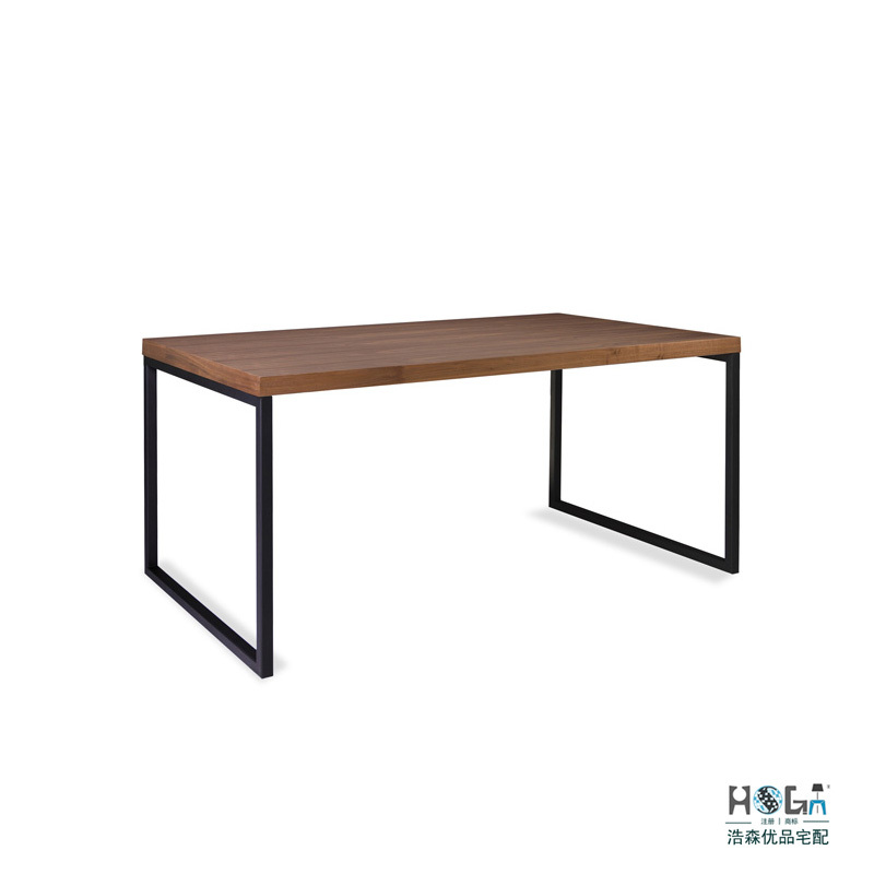 Modern Six Seater Dining Table Thick Rectangular Walnut Dining Table