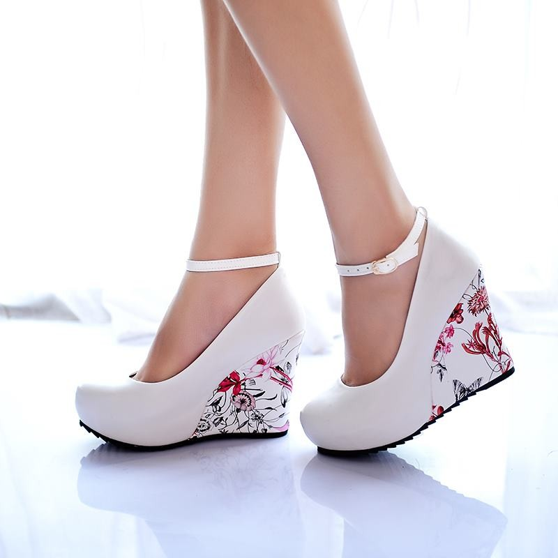 Fashion Ankle Strap 2015 High Wedges Platform Summer Pumps For Women Casual Dress Elegant Flower Print Wedges Shoes woman AA311<br><br>Aliexpress