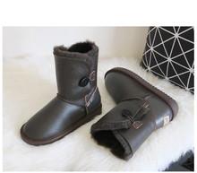 BLIVTIAE/de Lujo de Piel de Invierno Botas de piel de Oveja Australia Nieve Botas de Lana Natural Medio Classic Botas de Botón de Cristal Zapatos Planos Calientes(China (Mainland))