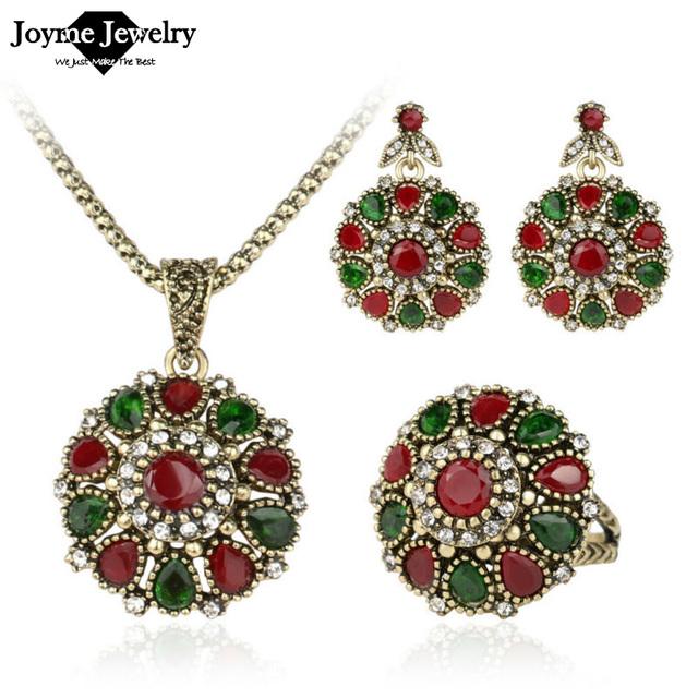 2016 мода старинные этнические украшения хрустальный цветок ожерелье комплект мода ...
