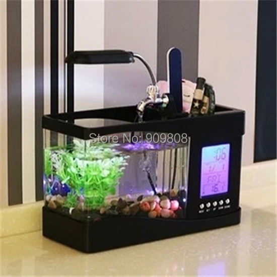 1 X Free Shipping usb desktop aquariums with led light ,lcd displayer,Pen case,water-tap / mini fish tank with running water(China (Mainland))