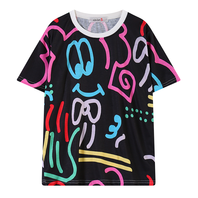 2015 new Casual Women T-Shirts fashion summer Loose plus size Graffiti printing Pullover Neon women tops - CoCogo Group Ltd store