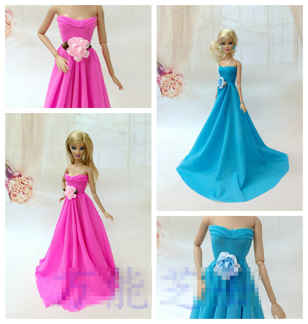 Xmas Competition Items For Women  Fairly Lengthy Wedding ceremony Blue Crimson Celebration Night Gown bobtail Garments For Barbie 1:6 Doll BBI0063