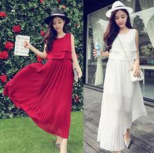 High Quality 2015 Summer Style Woman's Casual Dress. Brand Sleeveless Chiffon O-neck Ruffle Long Lady's Dresses WQW1354