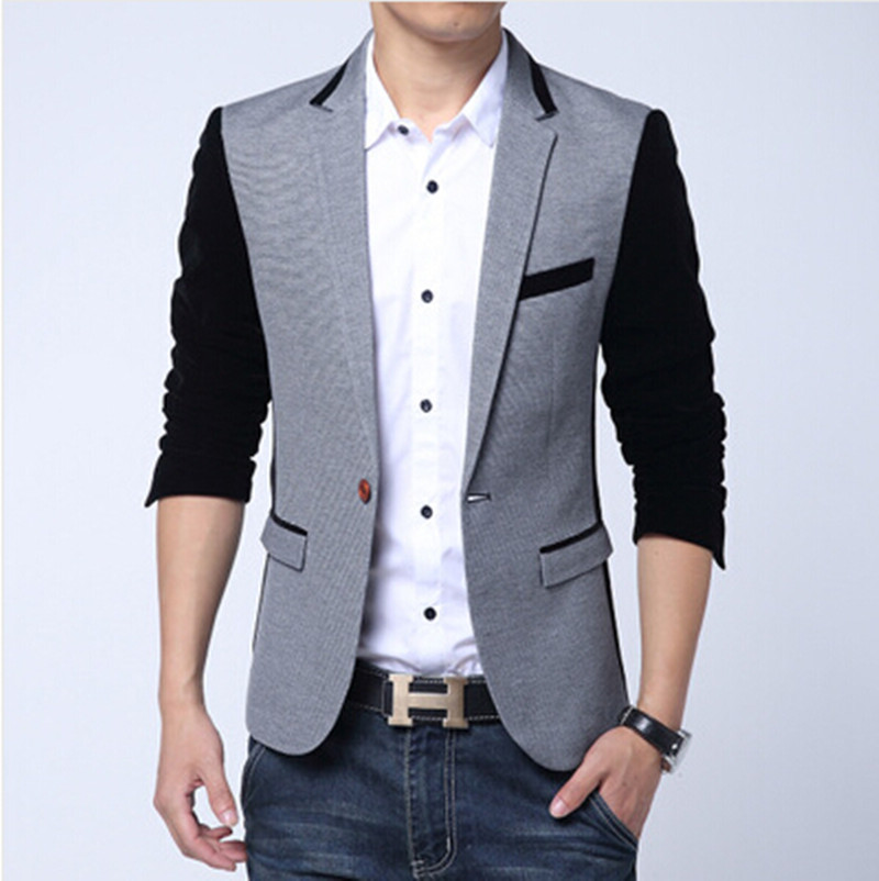Plus Size M-6XL 2016 New Slim Fit Casual Jacket Cotton Men Blazer Jacket Single Button Joining Together Mens Suit Jacket(China (Mainland))