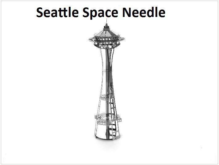Seattle Space Needle Building Kits 3D Scale Models DIY Metallic Nano Puzzle Toys for adult/kids, 1PC PRICE NO TOOL diy METAL TOY(China (Mainland))