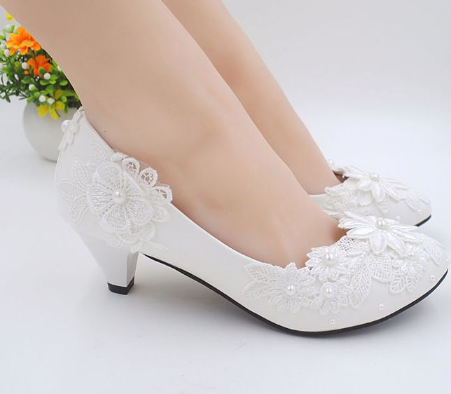 Wedding Shoes Applique Lace Decoration White Color Milk Ivory 2 Inch 3inch Ivory Wedding Shoes