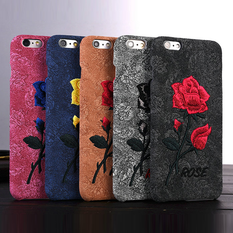 For iPhone 6 6S Chic Rose Embroidery Retro Case For iPhone