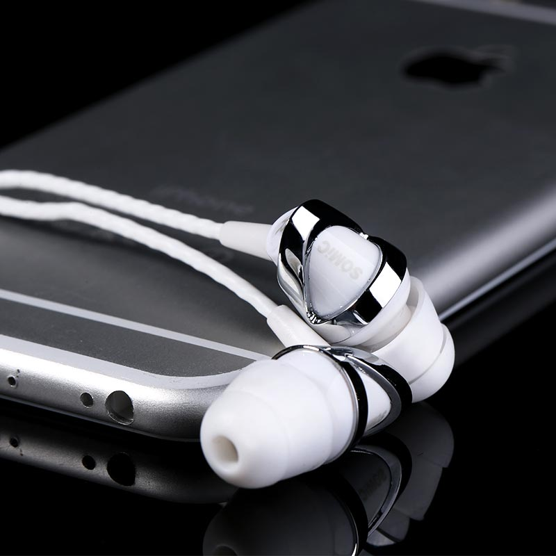 Somic mh412i super bass 3.5 mm earphones with microphone remote control belt led bluetooth aluminum headphones(China (Mainland))