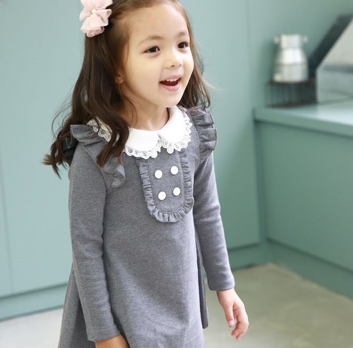 2015 spring autumn new arrival cotton girl korean clothes doll collar long sleeved casual girls A-line mini dress kids clothing(China (Mainland))