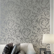 Luxury European Modern Leaf Wallpaper Wholesale Non-woven Papel Parede Mural Wallpapers Roll Silver Golden 3D Wall Paper QZ062(China (Mainland))