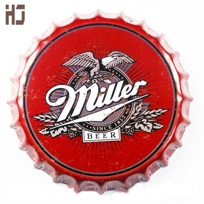 Vintage Tin Sign 35cm around Miller bottle Beer Sign Bar pub home Wall Decor Retro Metal Art Poster(China (Mainland))
