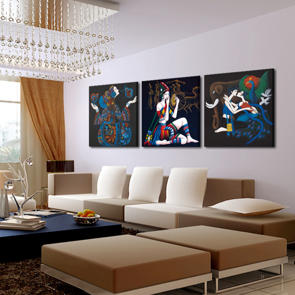3 Pcs Unframed Art Picture Home Decoration Canvas Prints Abstract woman lovers elephant piano music tree mountain Bamboo rivers(China (Mainland))
