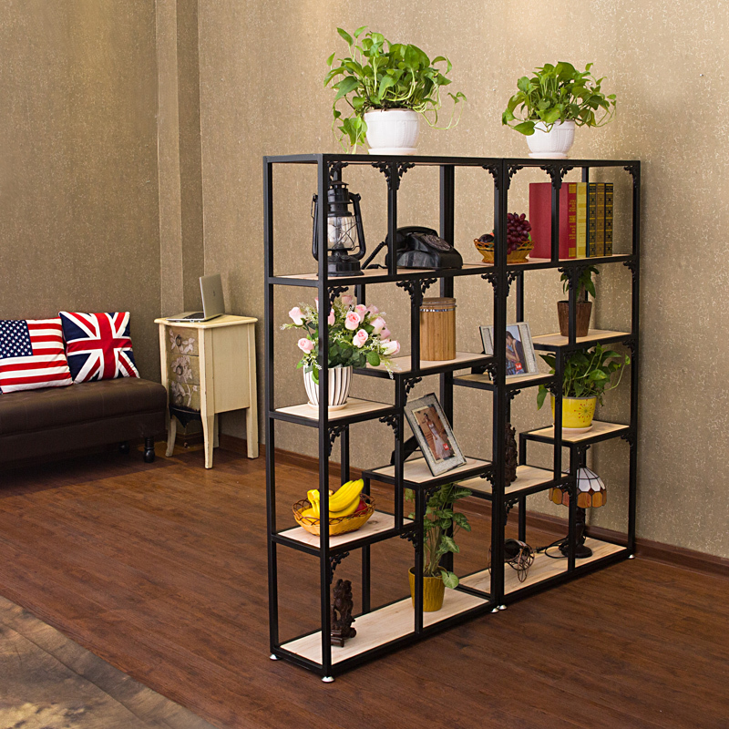 fer c t du salon biblioth que en bois tag res pr sentoir fleur bijoux tag re pour rack. Black Bedroom Furniture Sets. Home Design Ideas